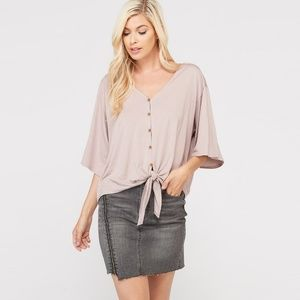 Tops - Bamboo button down front tie top-Mauve